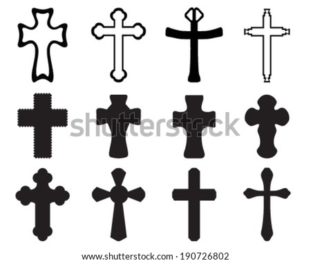 Black silhouettes of crosses, vector
