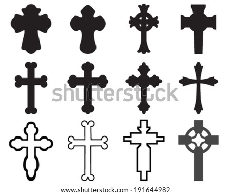 Black silhouettes of crosses, vector illustration