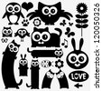 Black silhouettes of cute animals. Stickers design - stock vector