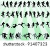 black silhouettes of football players -vector - stock vector