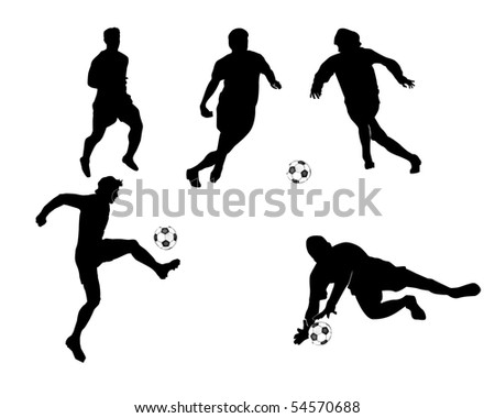 Black silhouettes of football players with a ball on an white background