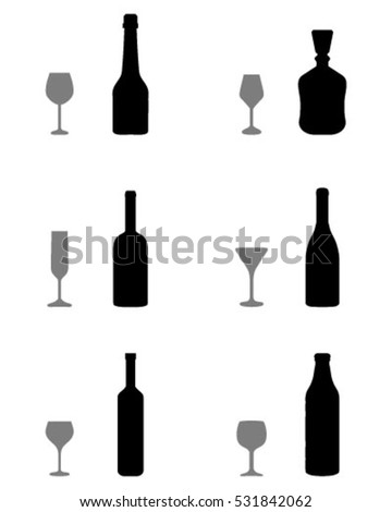 Black silhouettes of glasses and bottles, vector