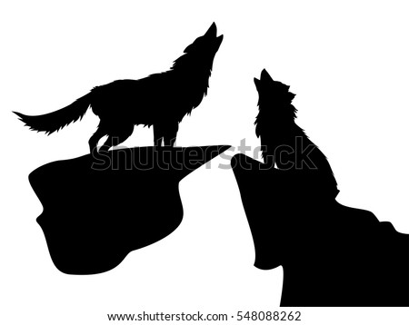 Black silhouettes of howling wolves on white background.