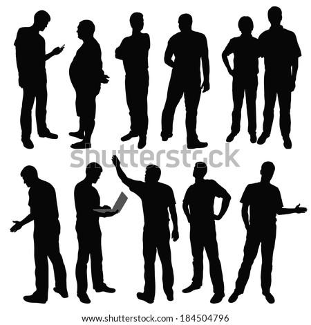 Black silhouettes of men in different poses. Vector illustration - stock vector