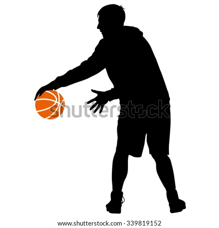 Black silhouettes of men playing basketball on a white background. Vector illustration. - stock vector