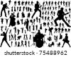 Black silhouettes of musicians. Vector illustration - stock photo