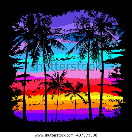 Black Silhouettes Of Palm Trees On A Background Multicolored Tropical Sunset