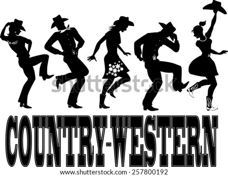 Black silhouettes of people dressed in western style close, dancing country line dance, vector illustration, no white, EPS 8 - stock vector