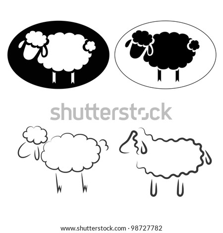 Sheep Flock Drawing Black Silhouettes of Sheep on