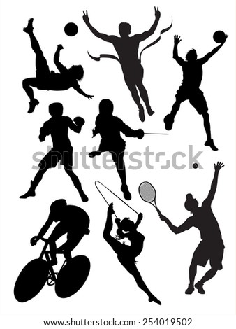 Black silhouettes of sportsmen on a white background. - stock vector