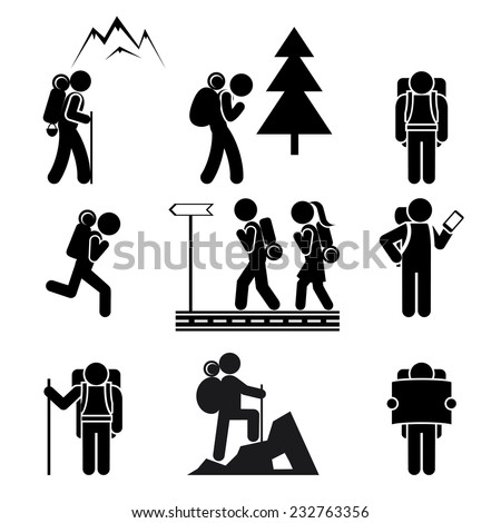 Black silhouettes of tourists with backpacks on a white background. Vector illustration - stock vector