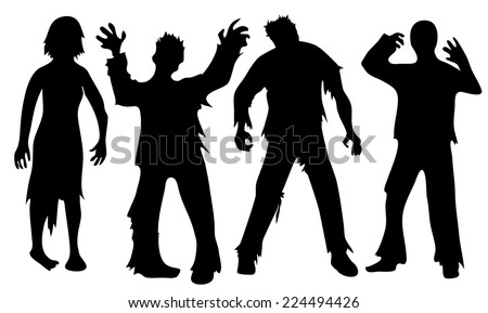 Black silhouettes of zombies isolated on white - stock vector
