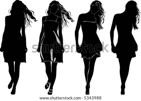 black silhouettes on the white, beautiful long hair walking weman in dress - stock vector