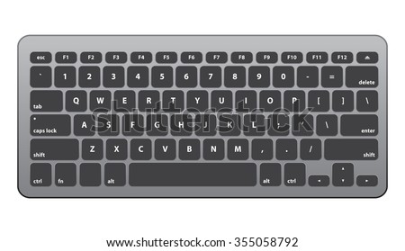 Black Silver Keyboard QWERTY #2 - Isolated Vector Illustration