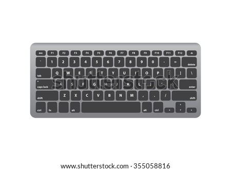 Black Silver Keyboard QWERTY - Isolated Vector Illustration