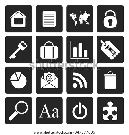 Black Simple Business and Internet Icons - Vector Icon Set