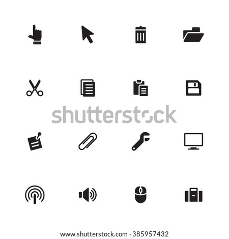 black simple flat computer and technology icon set 3 for web design, user interface (UI), infographic and mobile application (apps) - stock vector