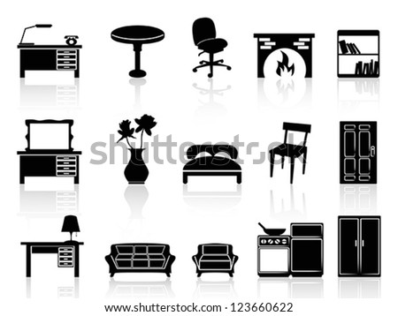black simple furniture icon - stock vector