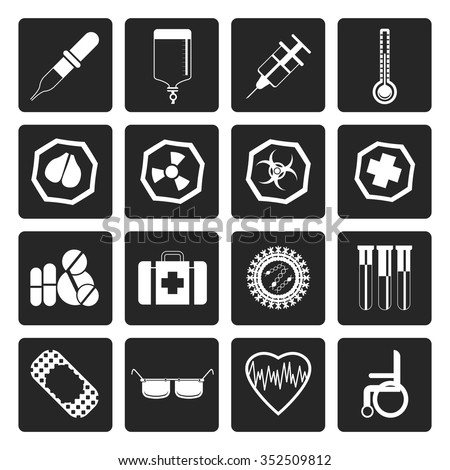 Black Simple medical themed icons and warning-signs - vector Icon Set - stock vector