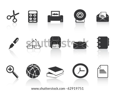black simple office icons set - stock vector