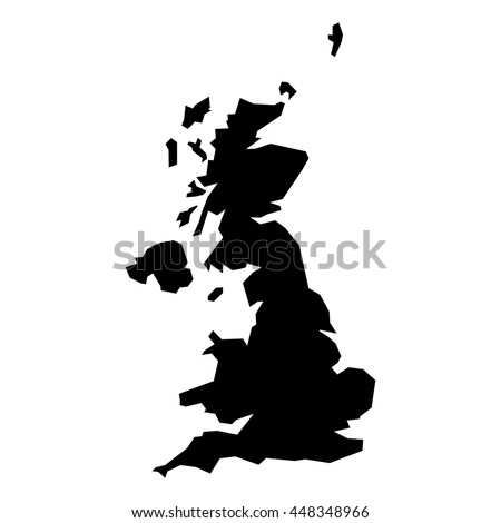 Black simplified flat silhouette map of United Kingdom of Great Britain and Northern Ireland. Vector country shape.
