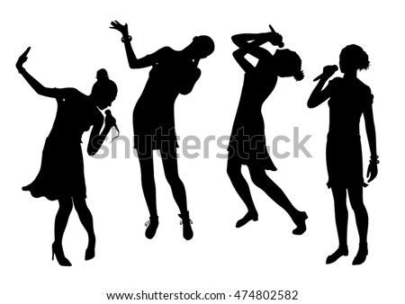 Black singing people silhouettes set