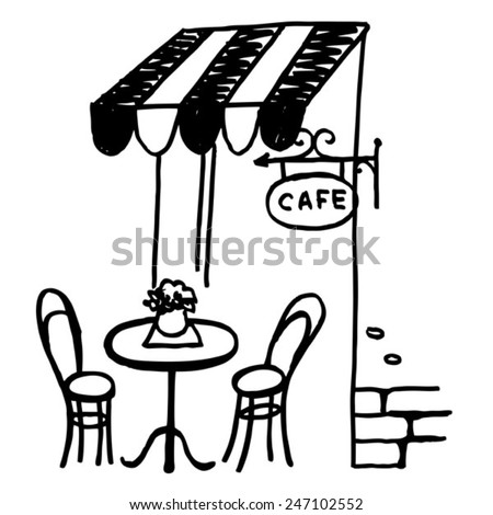 black sketch hand drawn bistro in Paris - stock vector