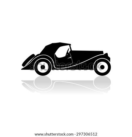 Black sketch of a retro car. - stock vector