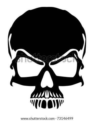 Black skull - vector - stock vector