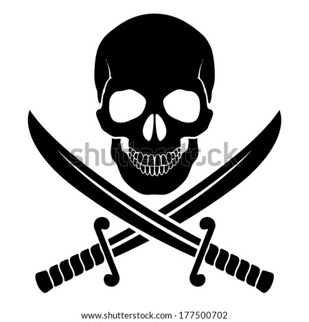 Black skull with crossed sabers. Illustration of pirate symbol - stock vector