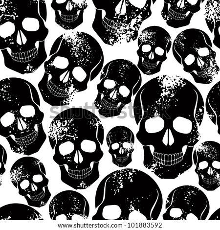 Black skulls seamless pattern. Lots of sculls with rusty grunge texture, graphic stylized black silhouettes, black and white vector background. - stock vector