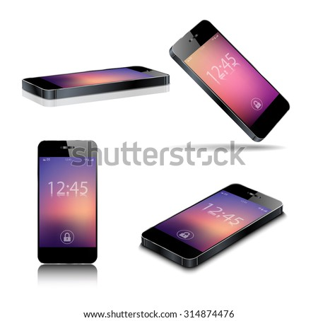 Black smart phone vector illustration isolated on white - stock vector