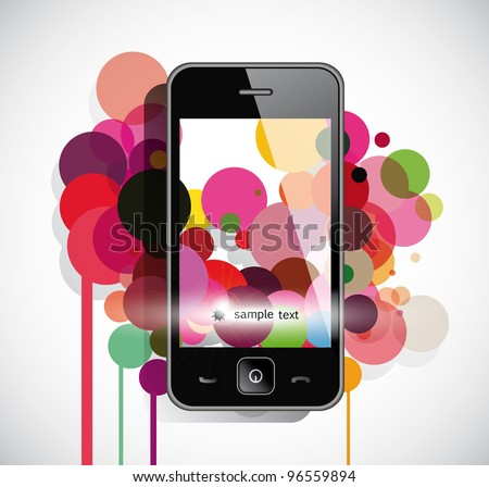 Black  smart phone with circles - stock vector