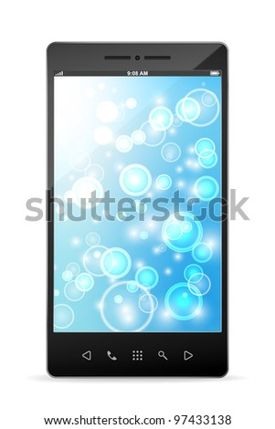 Black smartphone isolated on white background. Trendy devices. EPS10. Used transparency of bokeh on screen and opacity mask of the device