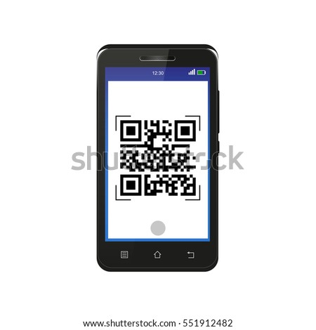 Black smartphone scanning QR code, isolated on white background
