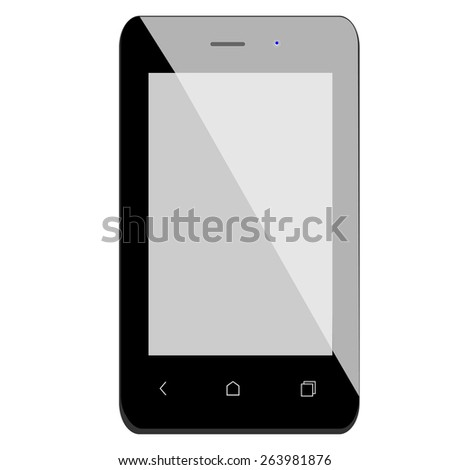 Black smartphone vector isolated, mobile phone, touchscreen