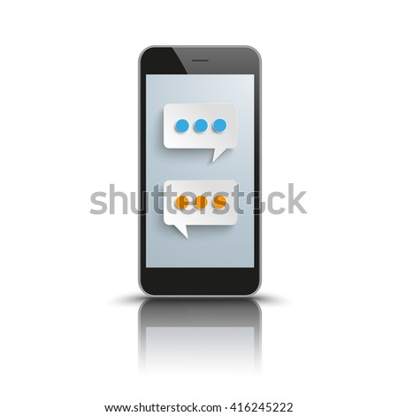 Black smartphone with 2 speech bubbles on the white background. Eps 10 vector file.