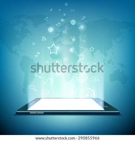 Black smartphone with white screen. Social media icons. Three-dimensional image. Rays of light from the screen. Stock Vector. - stock vector