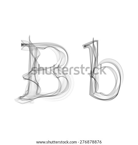 Black Smoke font on white background. Letter B. Vector illustration alphabet - stock vector