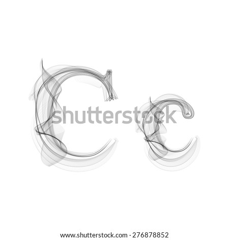 Black Smoke font on white background. Letter C. Vector illustration alphabet - stock vector
