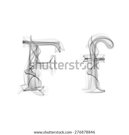 Black Smoke font on white background. Letter F. Vector illustration alphabet - stock vector