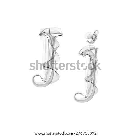 Black Smoke font on white background. Letter J. Vector illustration alphabet - stock vector