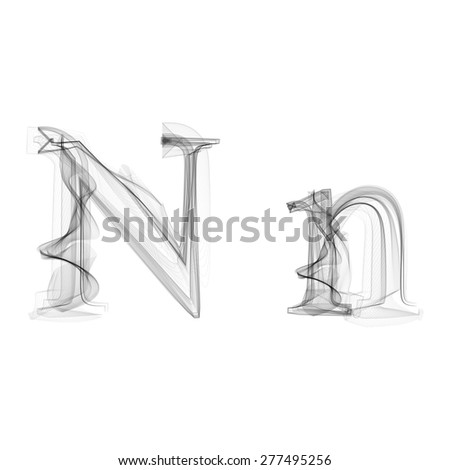 Black Smoke font on white background. Letter N. Vector illustration alphabet - stock vector