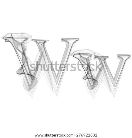 Black Smoke font on white background. Letter W. Vector illustration alphabet - stock vector