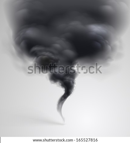 Black  smoke on light background. Vector illustration  - stock vector