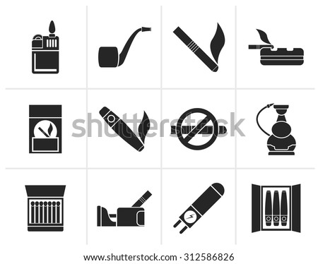 Black Smoking and cigarette icons - vector icon set - stock vector