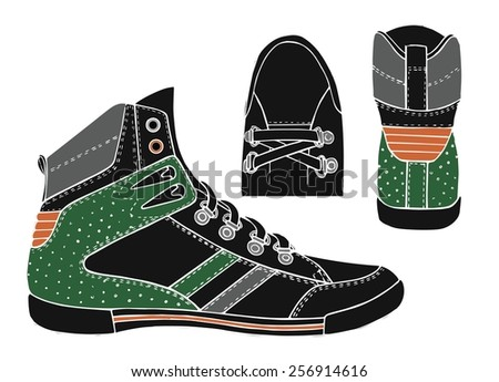 Black sneakers.Vector illustration - stock vector