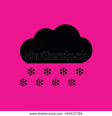 Black snow cloud winter icon vector. Pink background - stock vector
