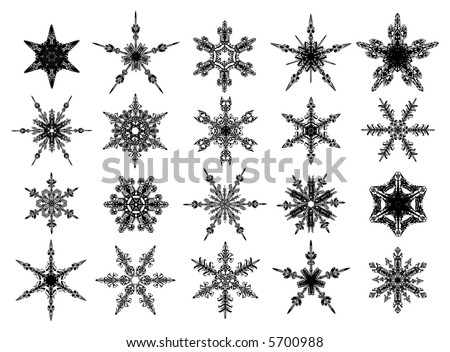 Black snowflakes collection - stock vector