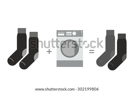 Black socks and washing machine. Shades of gray, different sock after wash